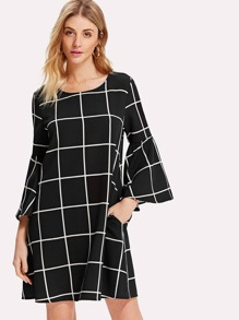 Trumpet Sleeve Grid Dress