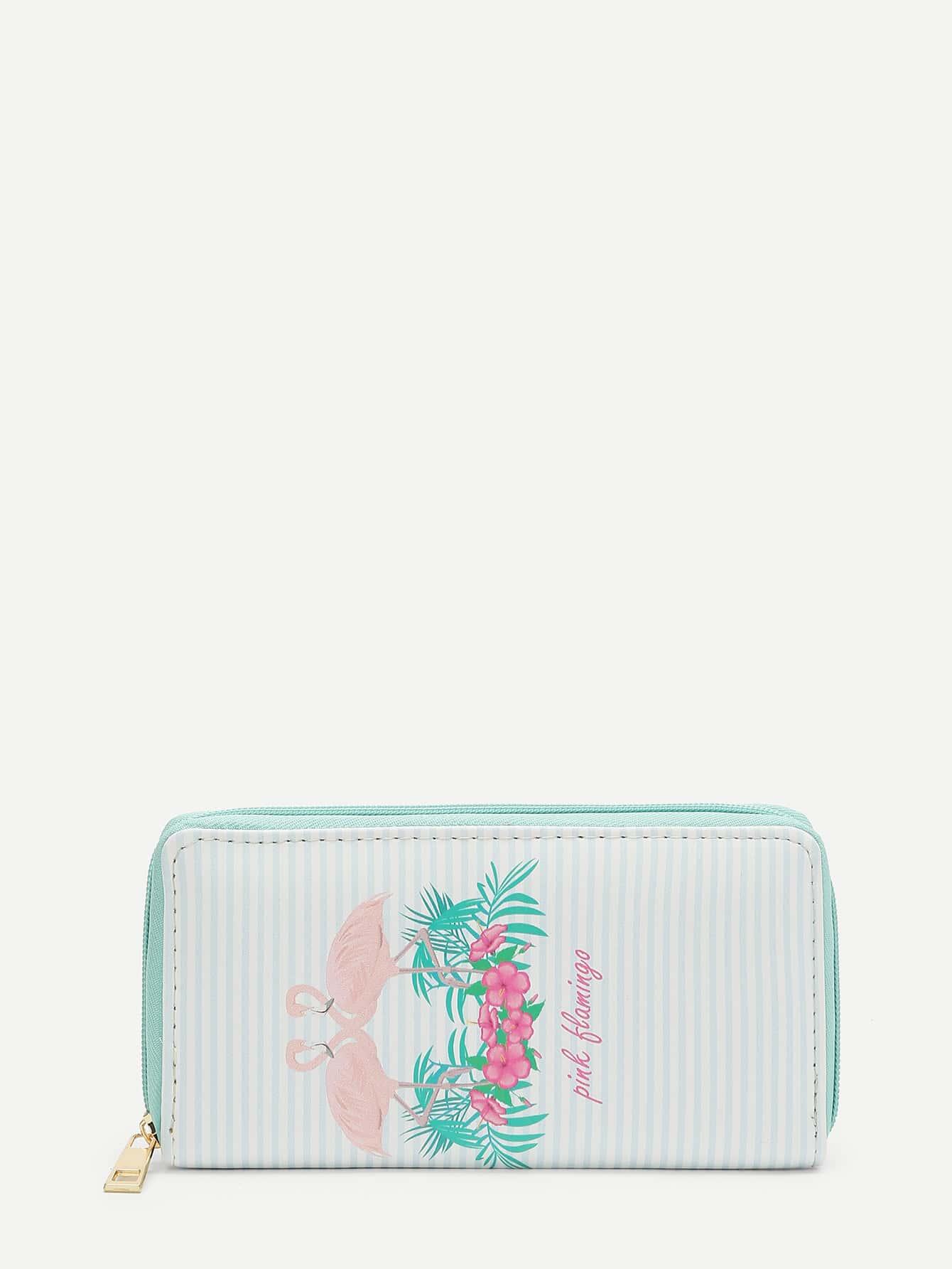 Flamingo Print Striped PU Purse flower print pu purse