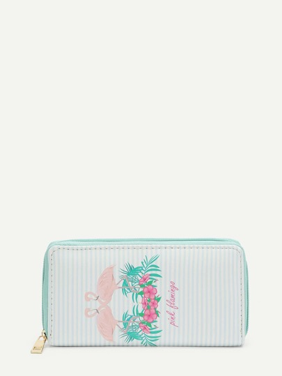Flamingo Print Striped PU Purse