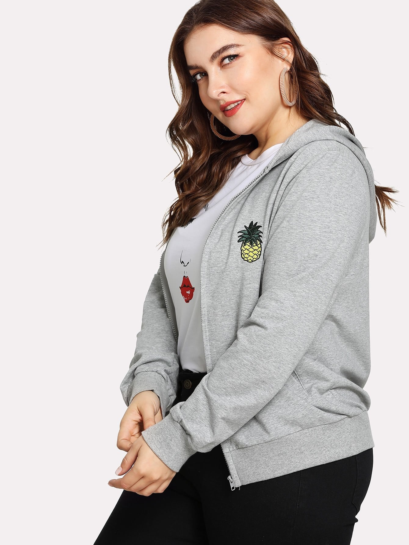 Pineapple Embroidered Zip Up Hooded Jacket champion hooded jacket