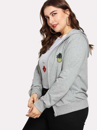 Pineapple Embroidered Zip Up Hooded Jacket