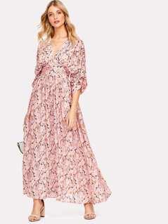 Gathered Sleeve Wide Waistband Ditsy Floral Kimono Dress