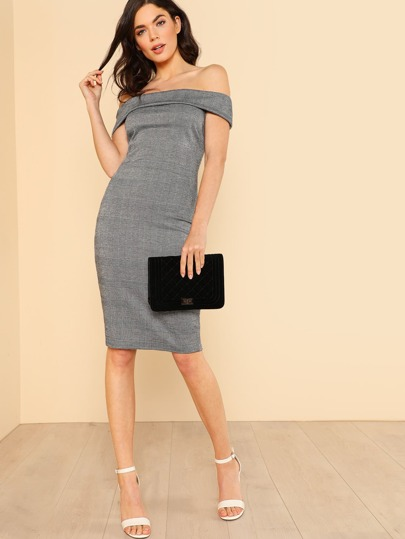 Fold Over Off Shoulder Glen Plaid Dress GREY