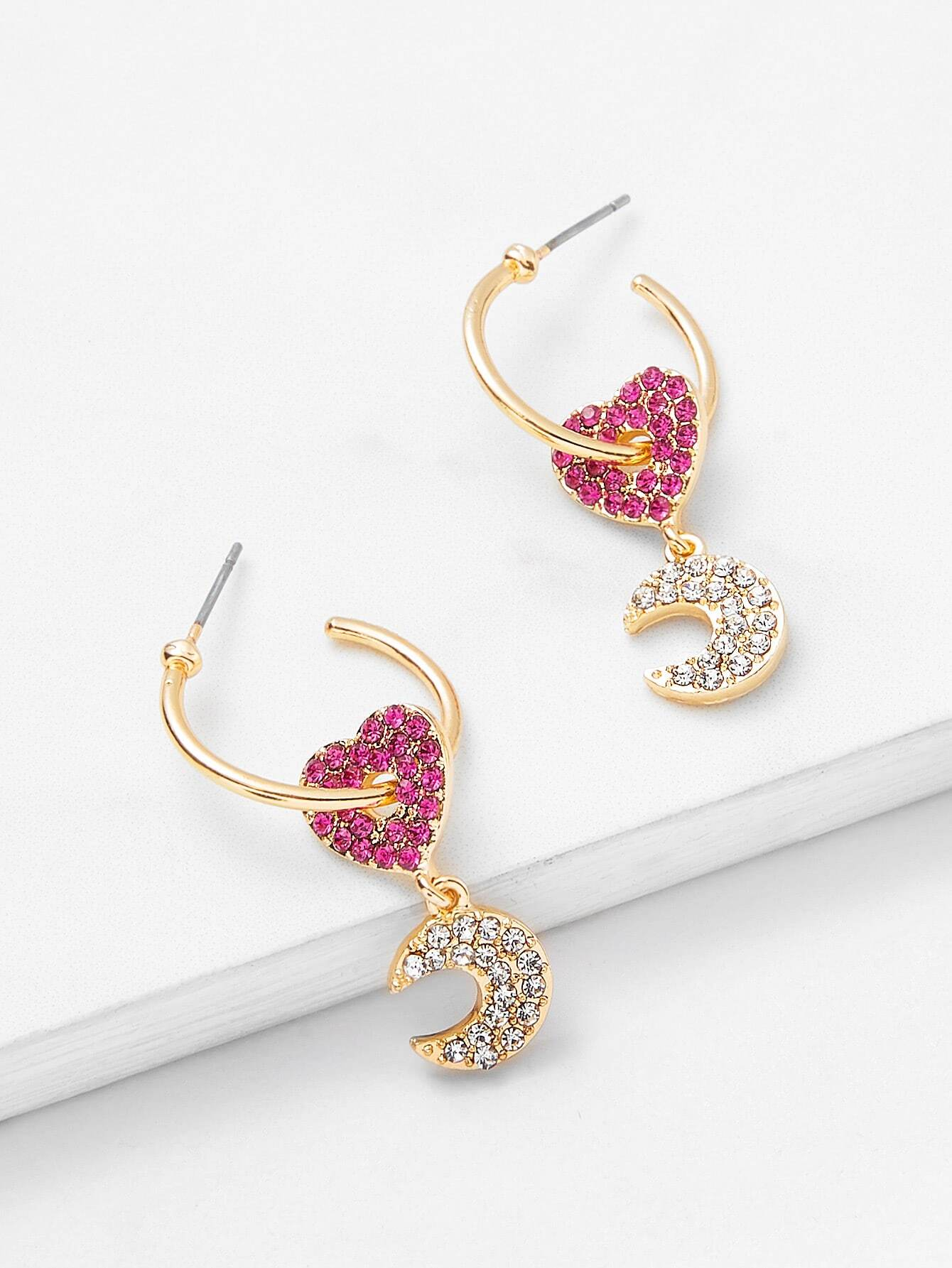 Two Tone Heart & Moon Design Drop Earrings two tone heart