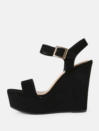 Cracked Metallic Buckled Ankle Strap Platform Wedge Sandal BLACK