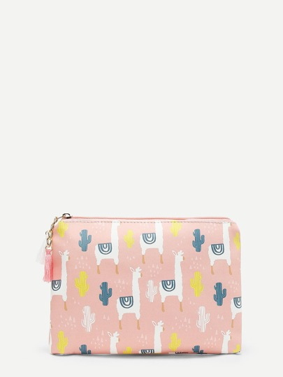 Alpaca Cartoon Print PU Wallet With Tassel