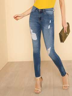 Medium Wash Distressed Skinny Jeans DENIM
