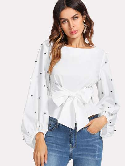Pearl Beaded Bishop Sleeve Belted Top