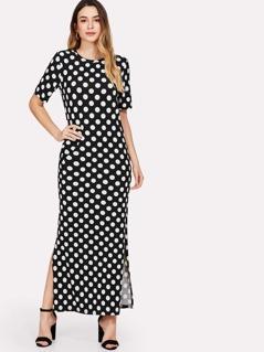 Slit Side Polka Dot Dress