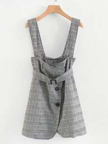 Glen Plaid Pinafore Dress With Belt