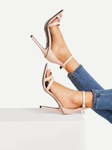 Studded Detail Ankle Strap Stiletto Heels