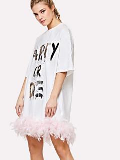Letter Print Faux Feather Hem Dress