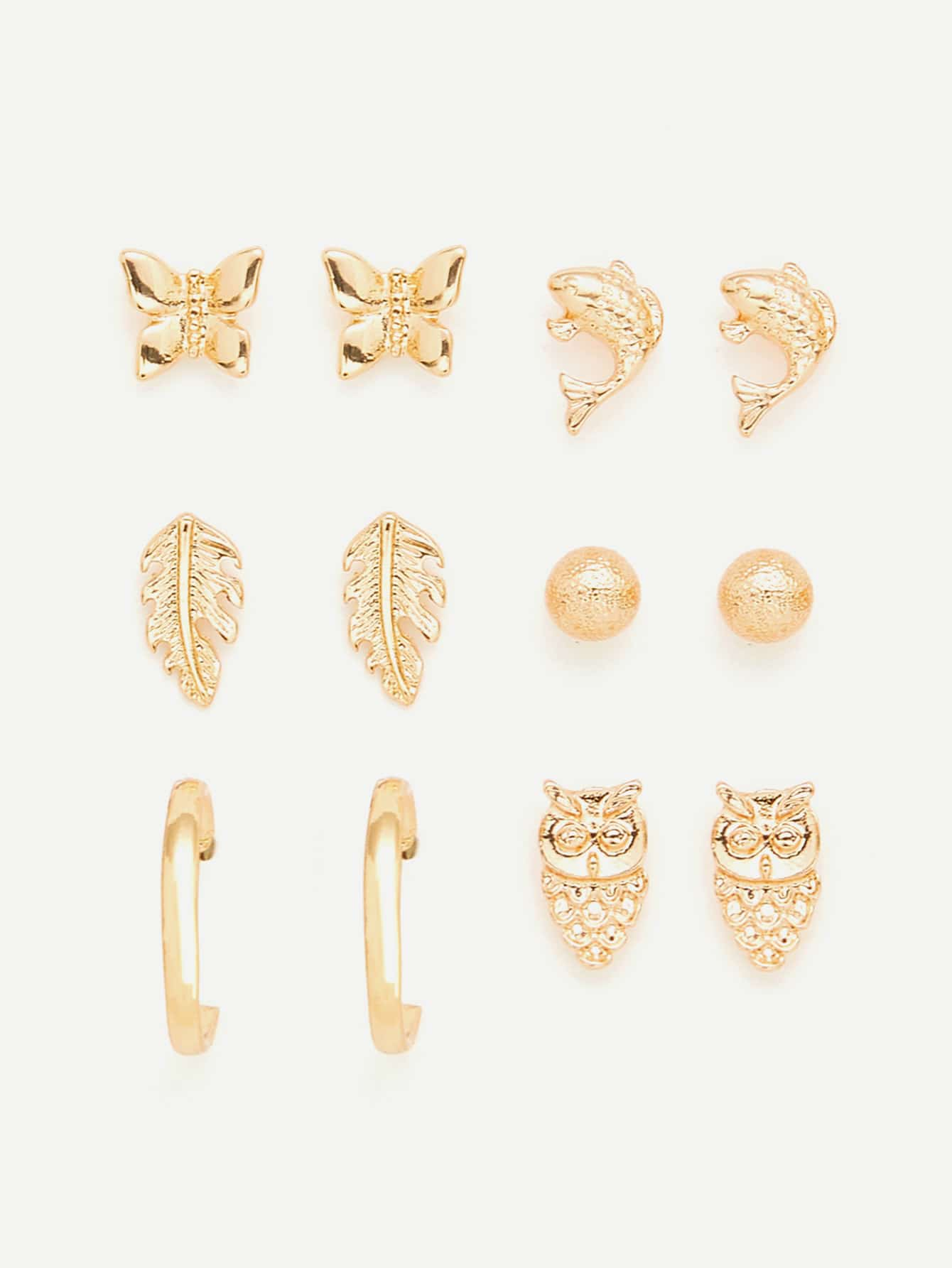 Animal & Leaf Design Stud Earring Set leaf rhinestone ear cuff and stud earring