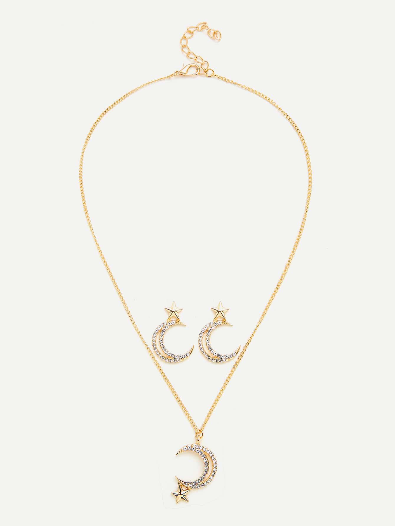 Moon & Star Pendant Chain Necklace & Earring Set er 3789 stylish retro jewelled pendant earring navy blue 2 pcs