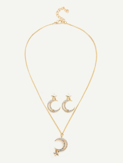 Moon & Star Pendant Chain Necklace & Earring Set