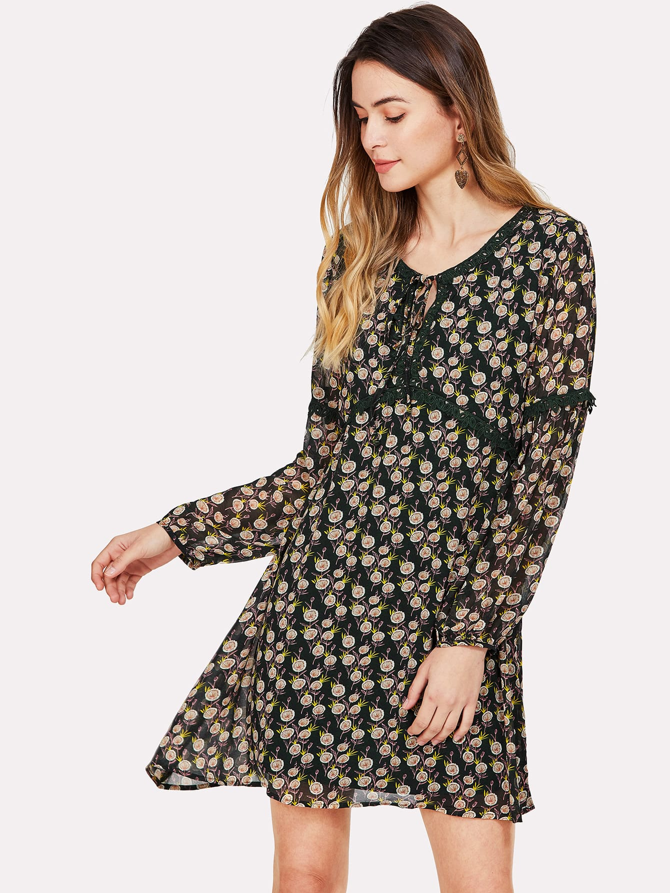 Купить Модное платье с бантом и цветочным принтом, Jana, SheIn