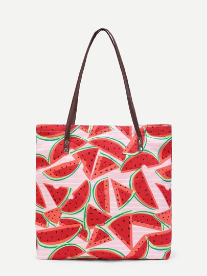Watermelon Print Canvas Combination Bag
