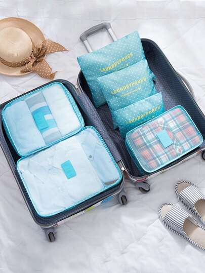 6 Pcs Travel Bags Set Dot Print Storage Bag