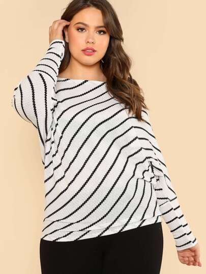 Striped Dolman Sleeve Ribbed Knit Blouse