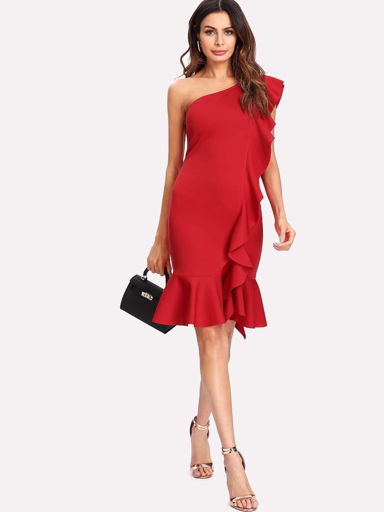 One Shoulder Ruffle Embellished Dress one shoulder ruffle embellished dress