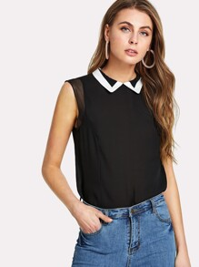 Contrast Collar High Low Top