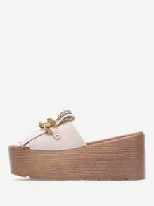 Tassel & Chain Decorated Wedge Sandals