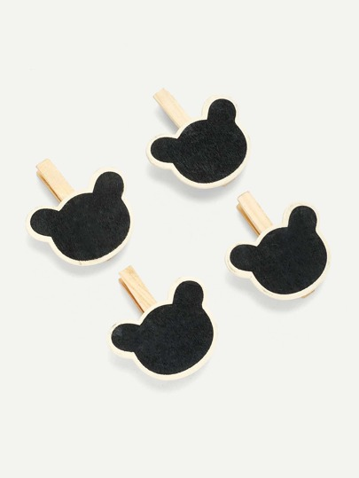 Bear Blackboard Wooden Clips 4Pcs