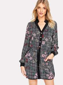 Contrast Trim Drawstring Waist Mixed Print Shirt Dress