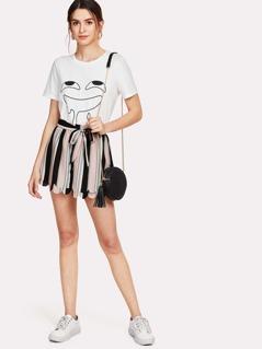 Self Tie Waist Layered Scallop Hem Striped Shorts