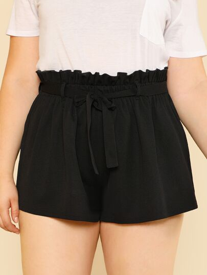 Self Belted Wide Leg Shorts