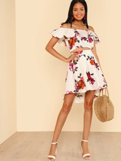 Ruffle Off Shoulder Flower Print Crop Top with Matching High Low Mini Skirt IVORY