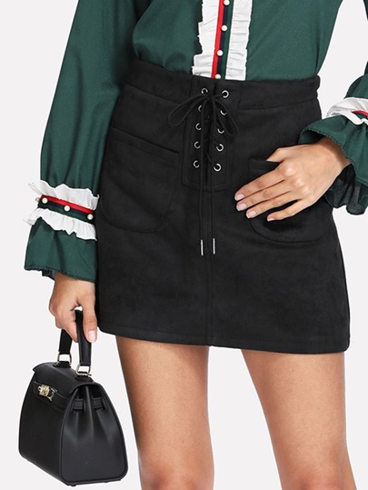 Lace Up Front Suede Skirt