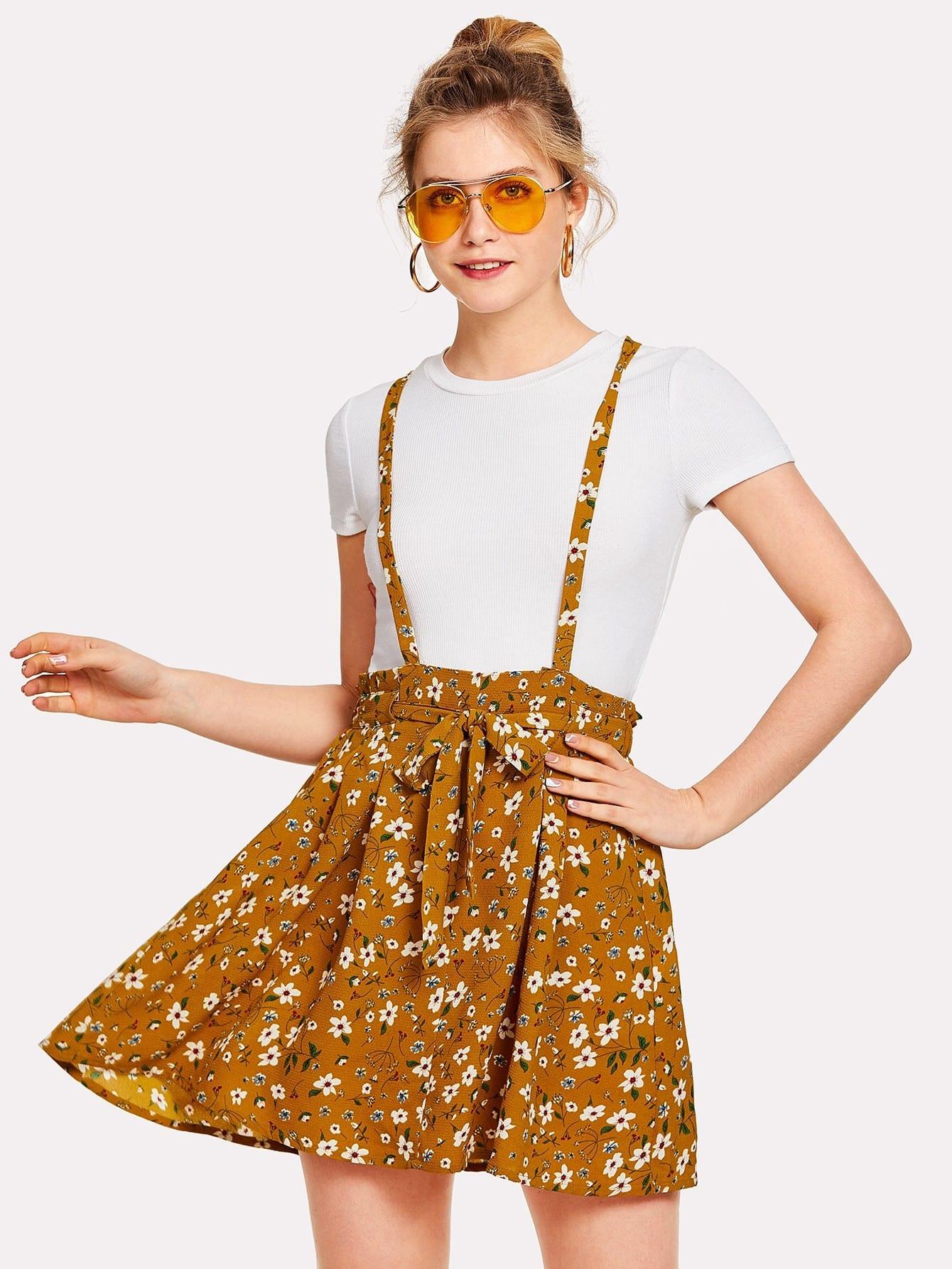 Flower Print Self Tie Waist Crisscross Pinafore Dress flower print tie waist shirt dress