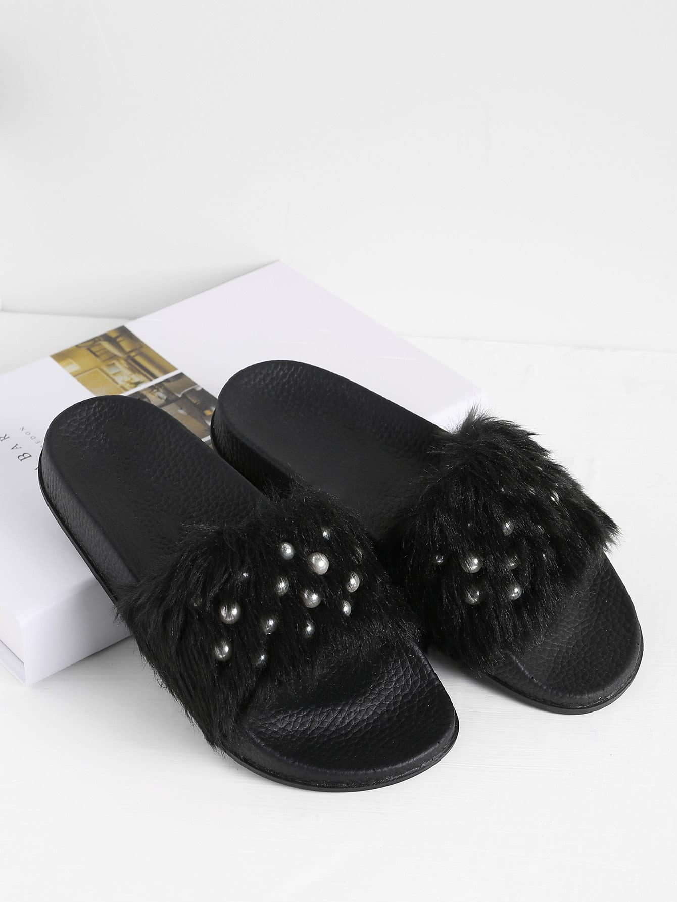 Faux Fur Flat Slippers With Faux Pearl faux pearl