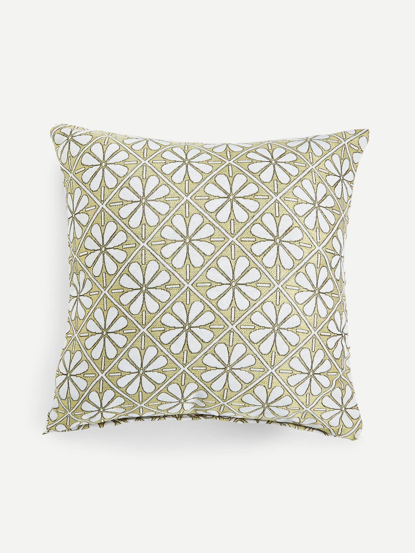 Flower Print Textured Pillow Case