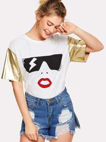 Contrast Metallic Sleeve Cartoon Print Tee