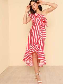 Brush Stripe Asymmetrical Flounce Hem Dress IVORY RED