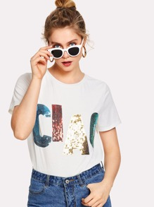 Sequin Slogan Tee