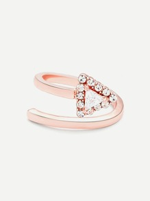 Rhinestone Triangle Design Wrap Ring
