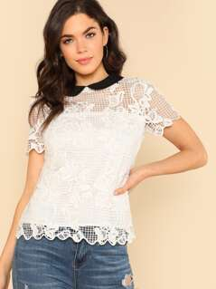 Contrast Collar Keyhole Back Cut Out Lace Top