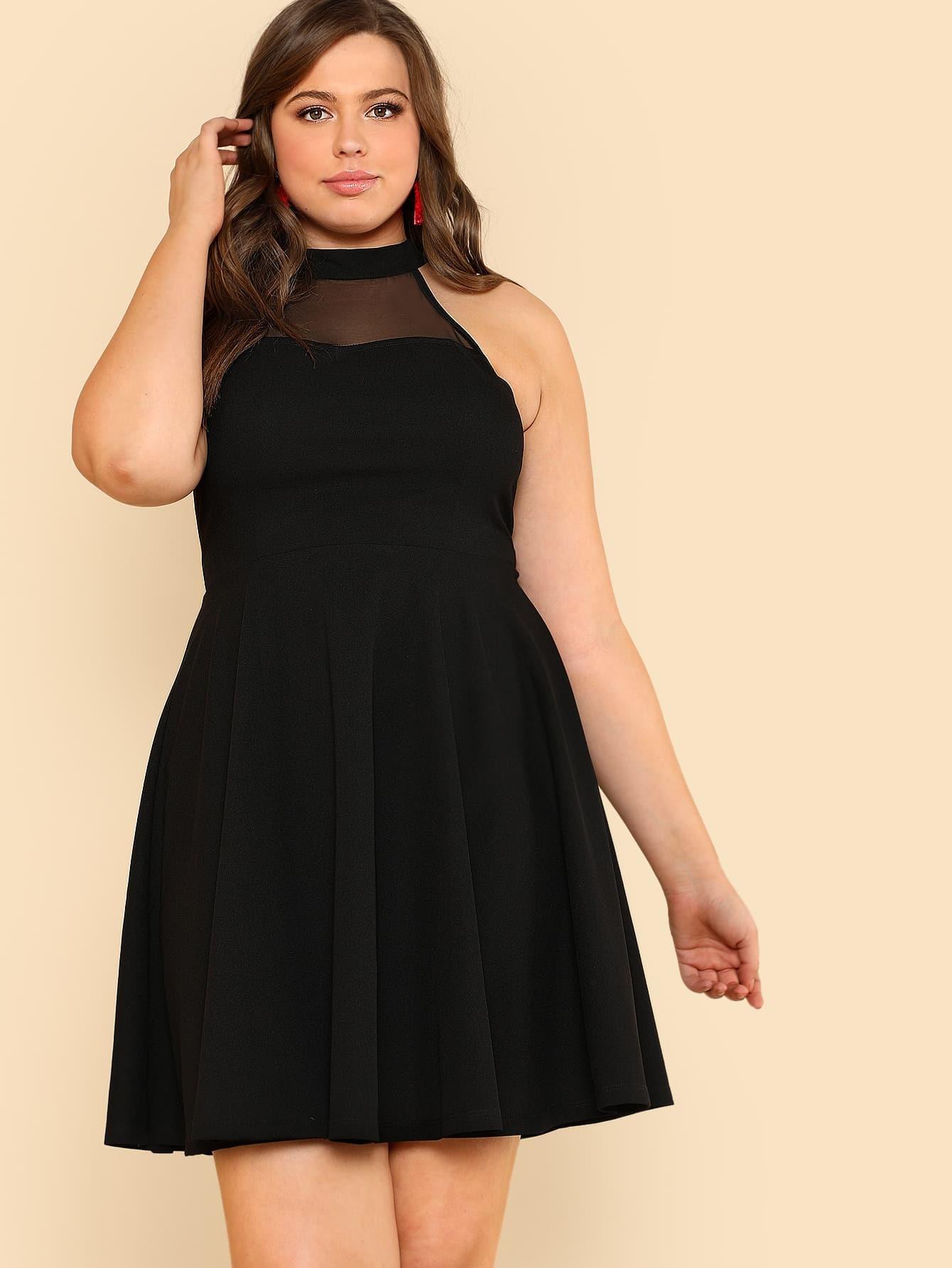 Open Back Mesh Insert Halter Dress open back lace insert night dress
