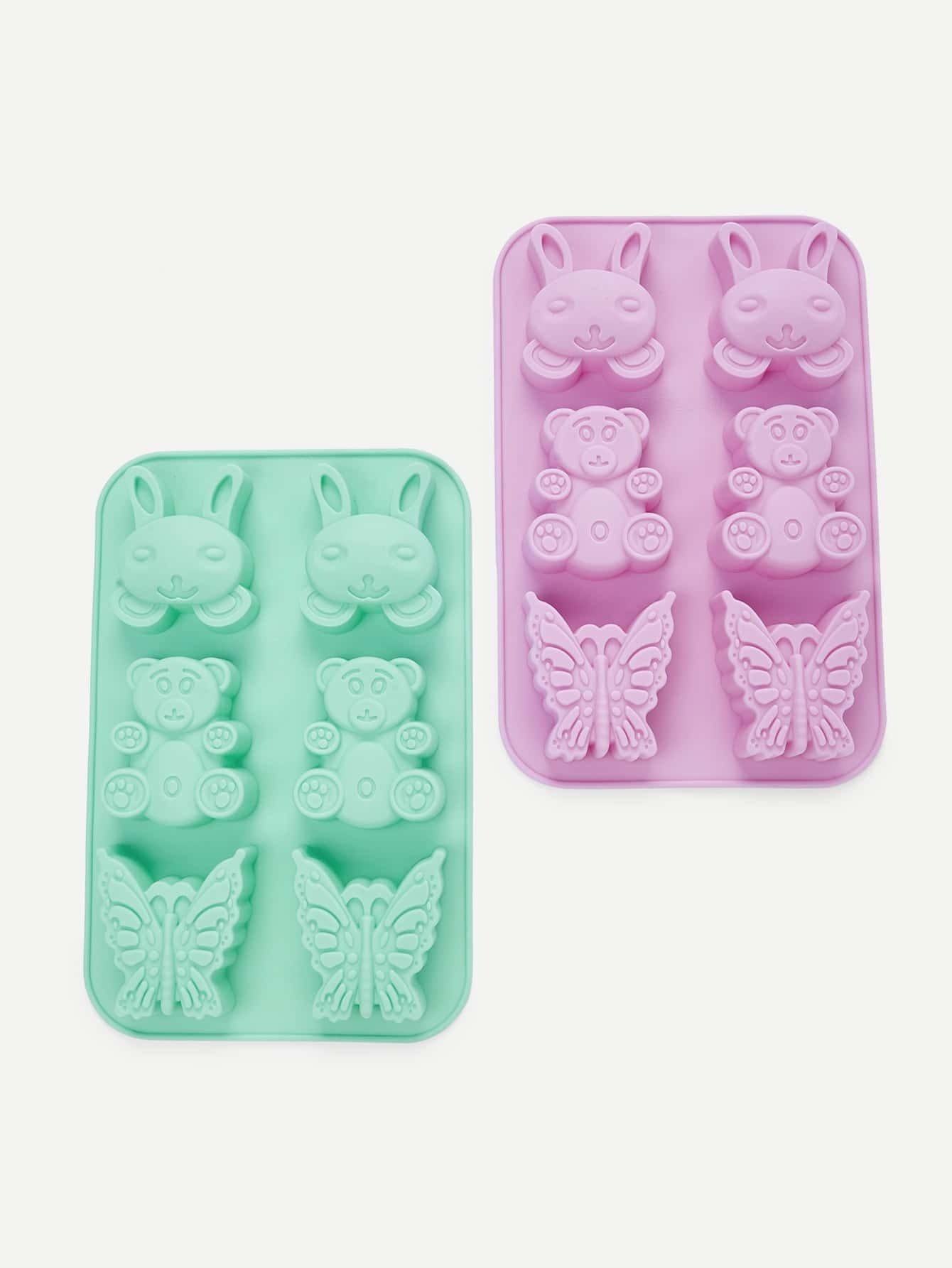 1Pc Random Color 6 Hole Animal Shaped Silicone Baking Mould