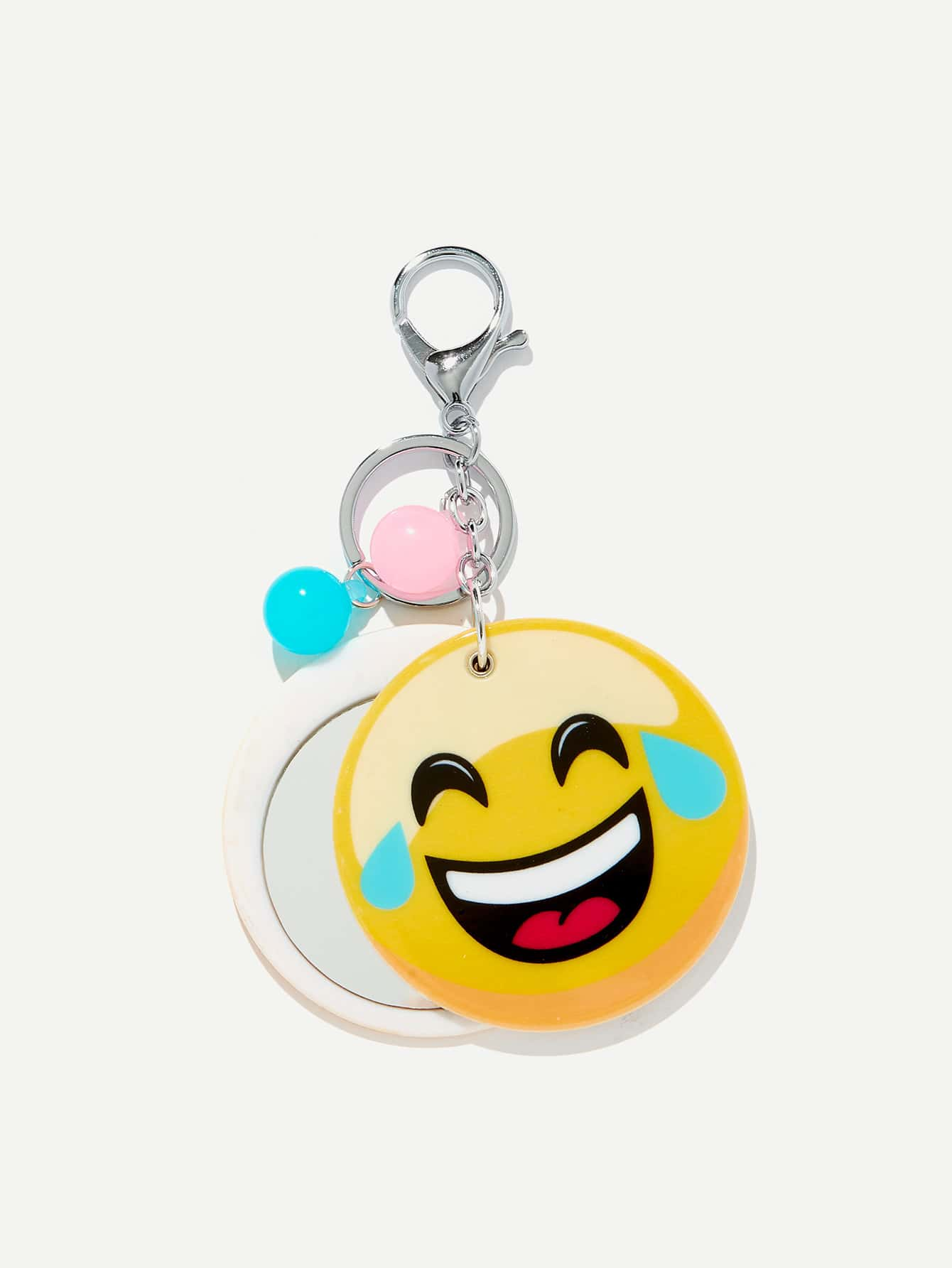 Random Color Ball Emoji Round Keychain random color ball flamingo round keychain