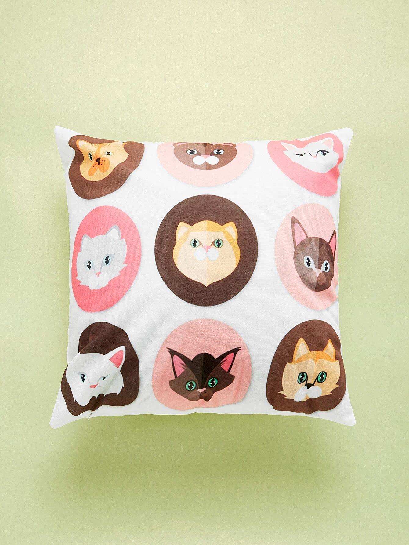 Cat Overlay Print Cushion Cover