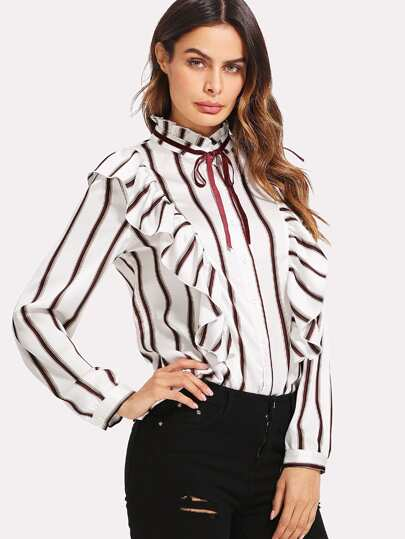 Tie Neck Frill Trim Striped Blouse