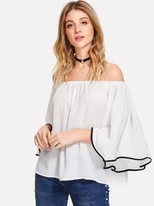 Contrast Binding Bell Sleeve Bardot Top
