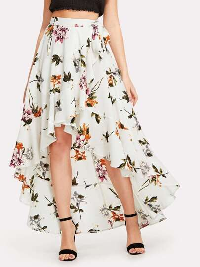 Floral Print Knot Side Asymmetrical Skirt