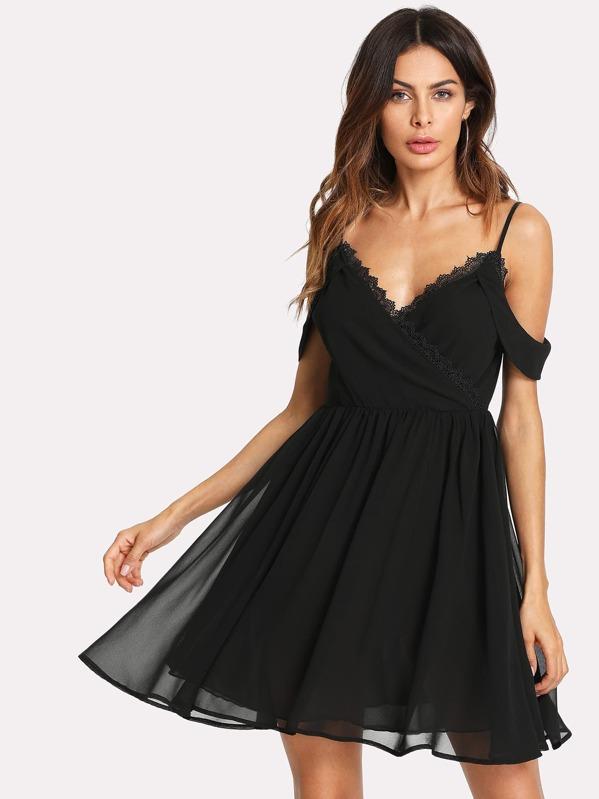 Lace Trim Wrap Front Cold Shoulder Dress, Andy