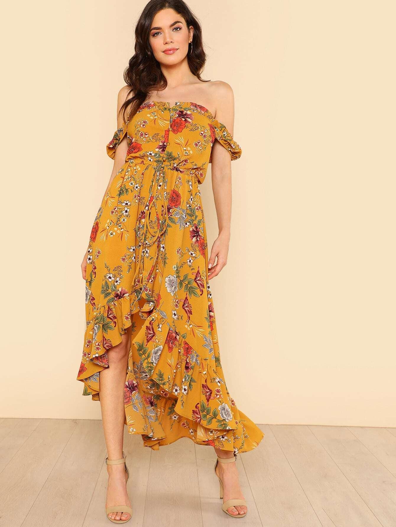 Drawstring Waist Asymmetrical Ruffle Hem Floral Bardot Dress knot side floral asymmetrical ruffle hem dress
