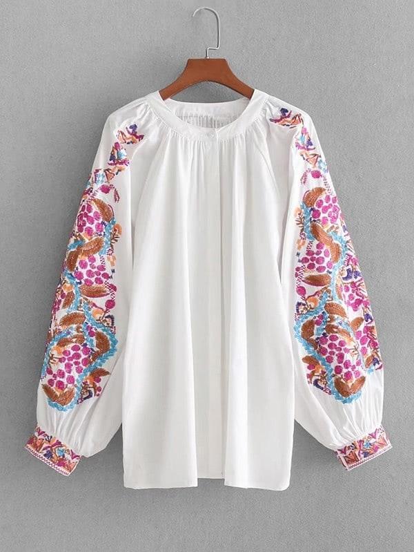 Купить Модная блуза с вышивкой, рукав-фонарик, null, SheIn